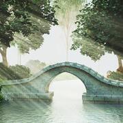 Scena del ponte di pietra 3d model