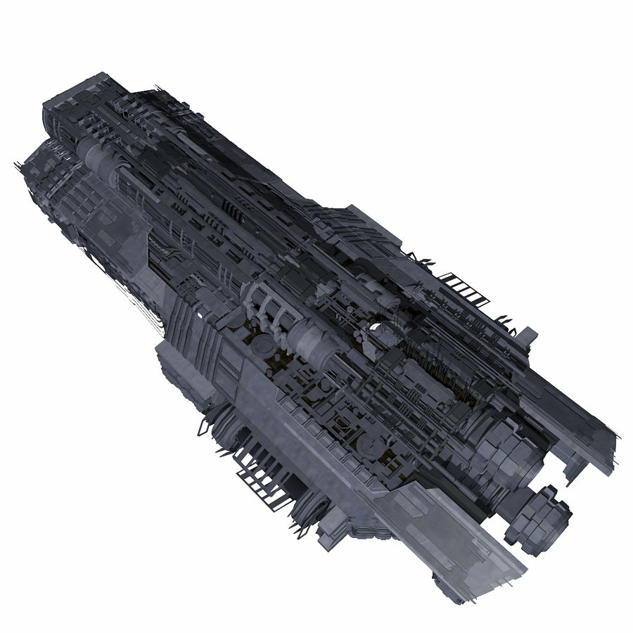 Sci Fi Large Spaceship 3 - Sci-Fi Futuristic Spacecraft Battleship Transport royalty-free 3d model - Preview no. 4
