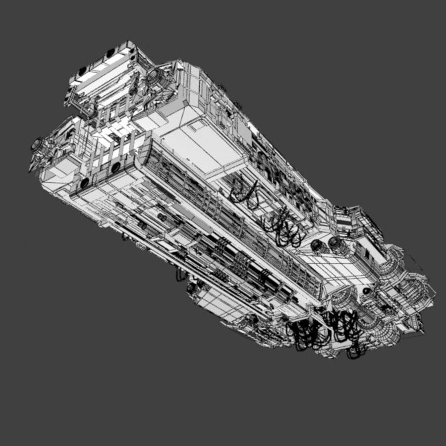 Sci Fi Large Spaceship 3 - Sci-Fi Futuristic Spacecraft Battleship Transport royalty-free 3d model - Preview no. 9