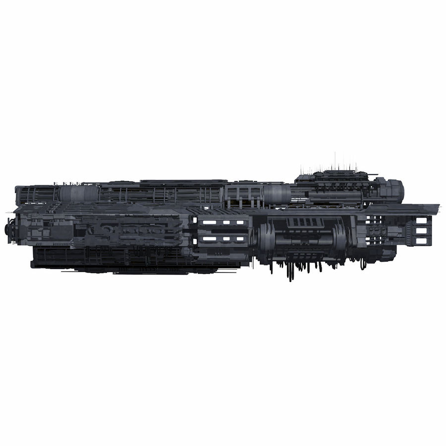 Sci Fi Large Spaceship 3 - Sci-Fi Futuristic Spacecraft Battleship Transport royalty-free 3d model - Preview no. 3