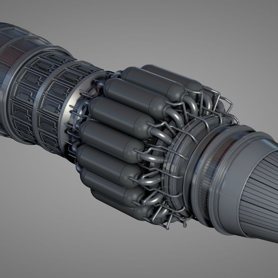 Detailed Jet Turbine Engine royalty-free 3d model - Preview no. 5