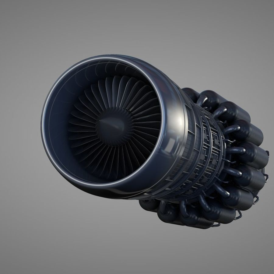 Detailed Jet Turbine Engine royalty-free 3d model - Preview no. 2