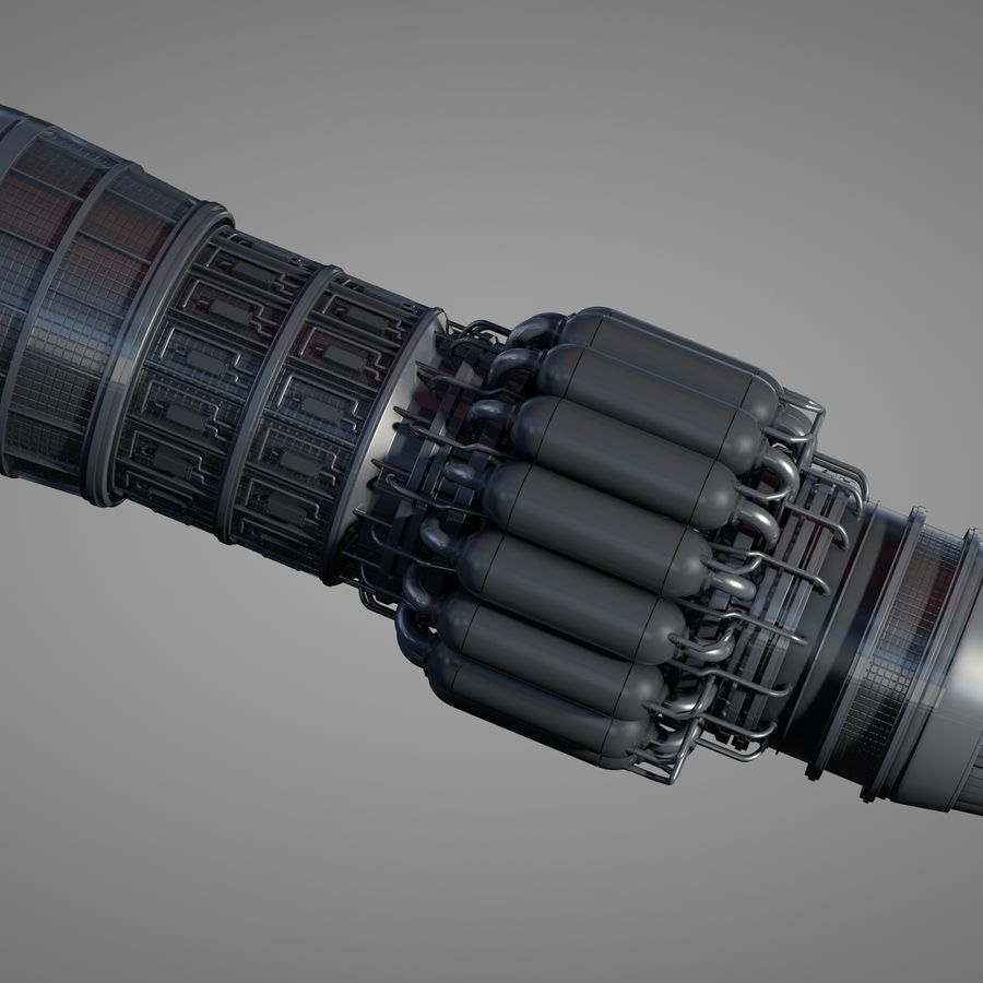 Detailed Jet Turbine Engine royalty-free 3d model - Preview no. 3