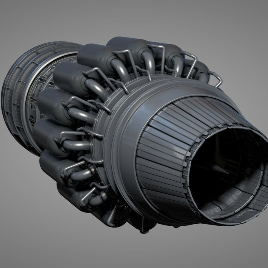 Detailed Jet Turbine Engine royalty-free 3d model - Preview no. 4