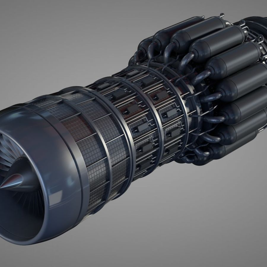 Detailed Jet Turbine Engine royalty-free 3d model - Preview no. 1
