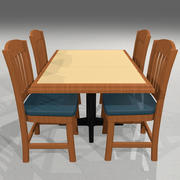 Set da tavolo e sedie da ristorante in stile 3d model
