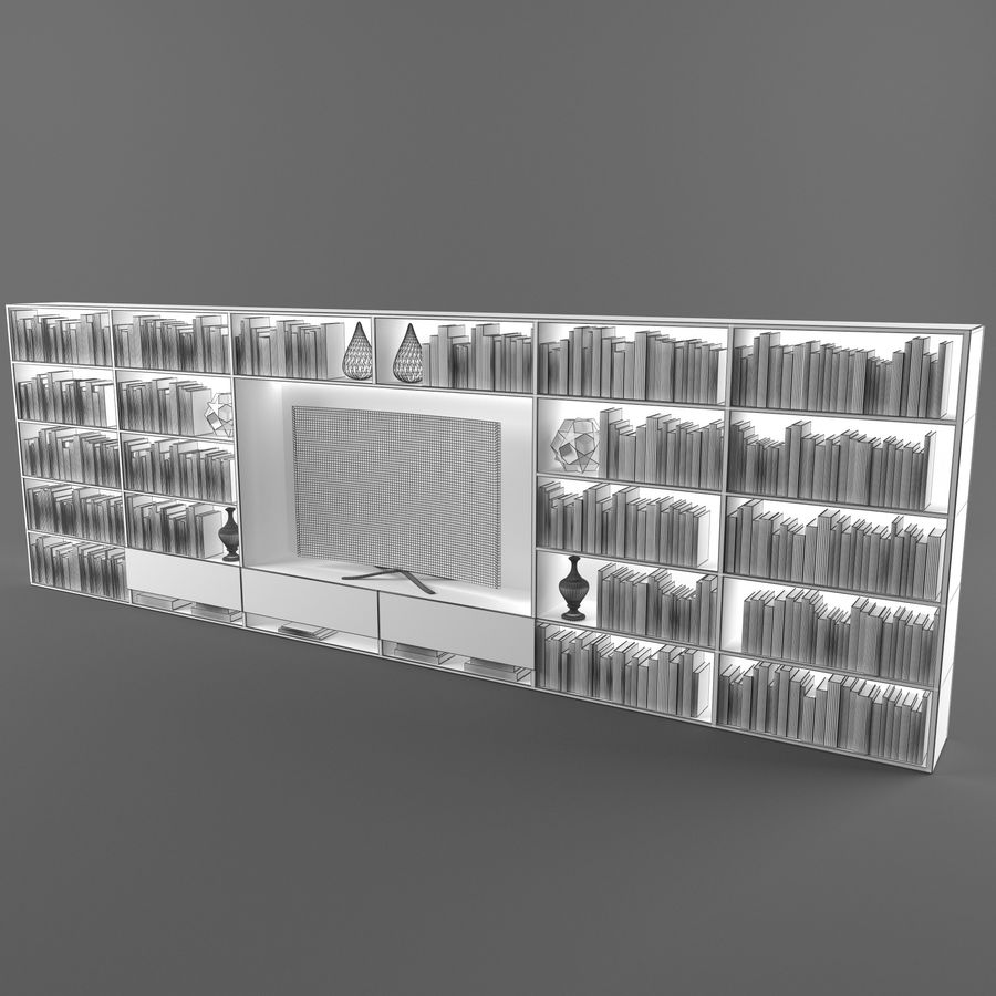 Boekenkast 2 royalty-free 3d model - Preview no. 3