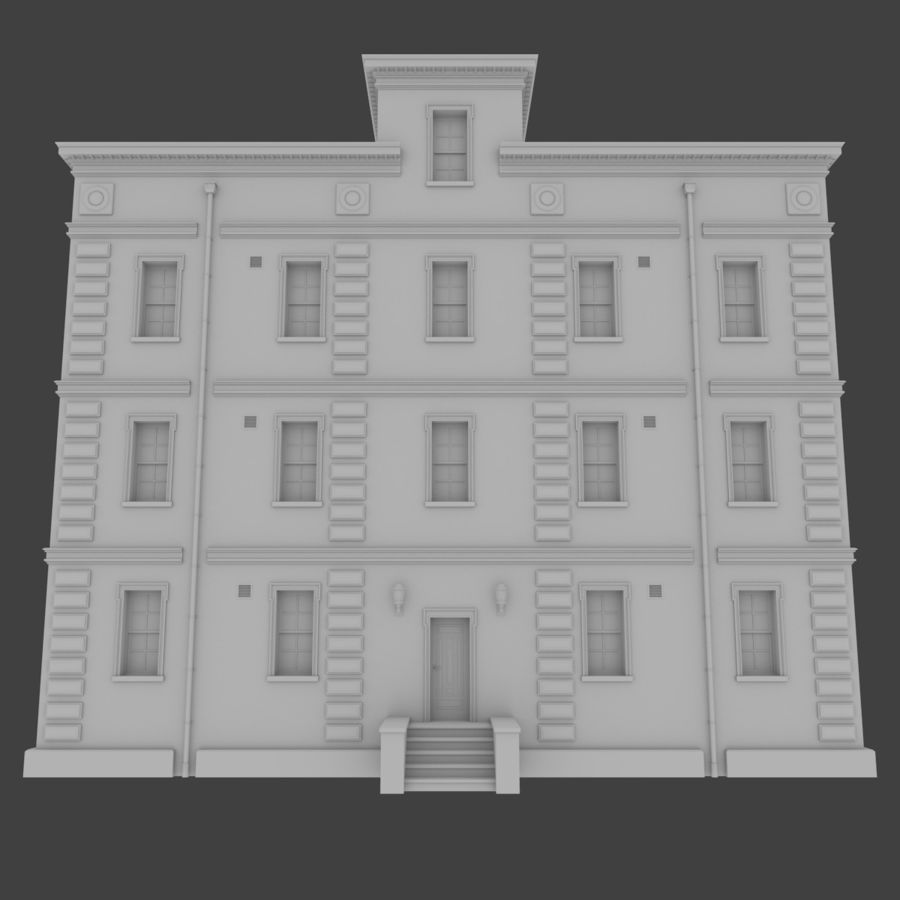 Brick apartment five with interior royalty-free 3d model - Preview no. 1