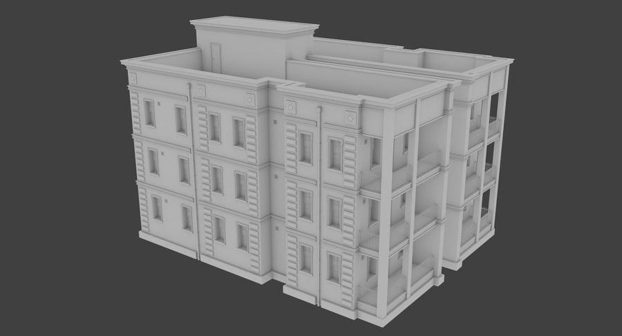 Brick apartment five with interior royalty-free 3d model - Preview no. 6