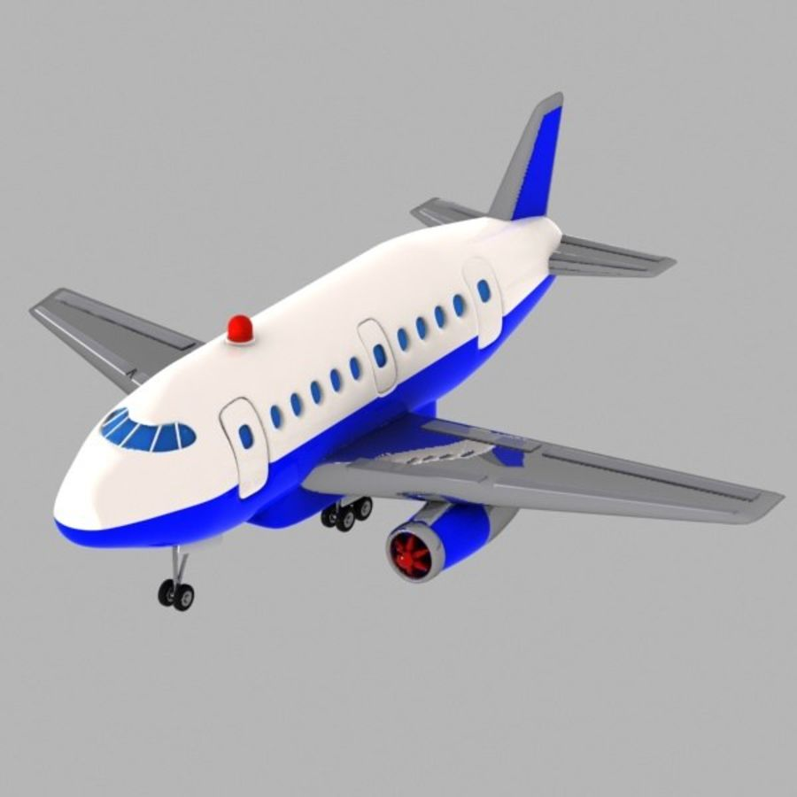 Toon Commercial Aircraft royalty-free 3d model - Preview no. 1
