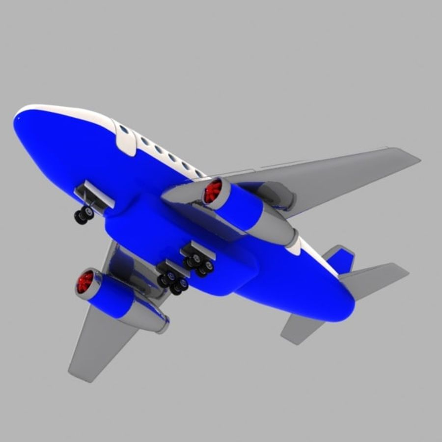 Toon Commercial Aircraft royalty-free 3d model - Preview no. 3