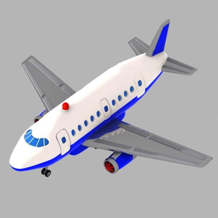 Toon Commercial Aircraft royalty-free 3d model - Preview no. 2