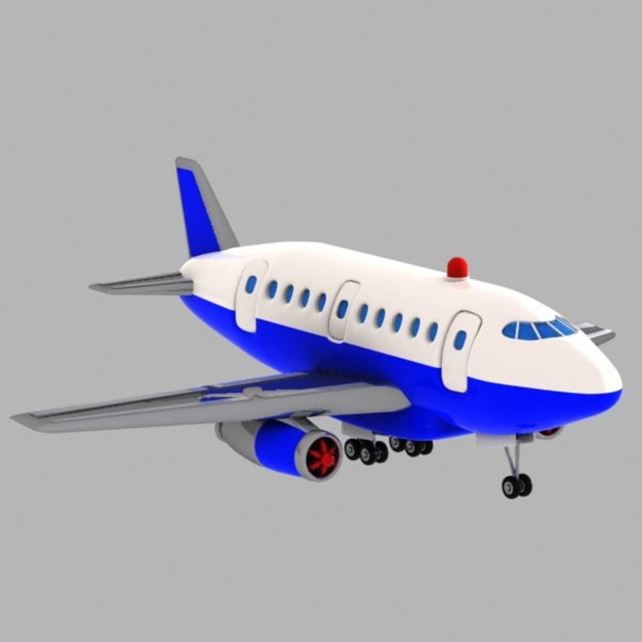 Toon Commercial Aircraft royalty-free 3d model - Preview no. 8