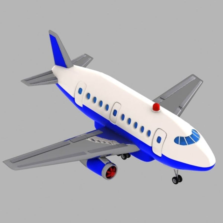 Toon Commercial Aircraft royalty-free 3d model - Preview no. 9