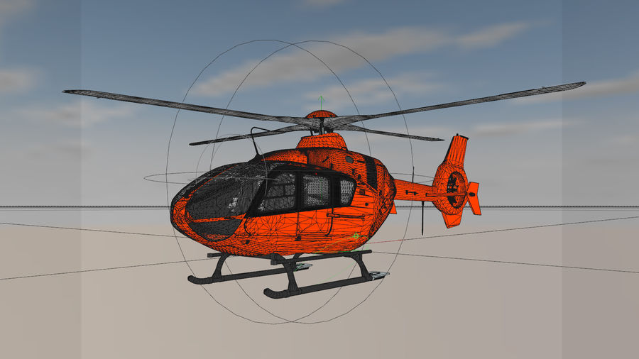 Helicopter With Rotating Blades royalty-free 3d model - Preview no. 4