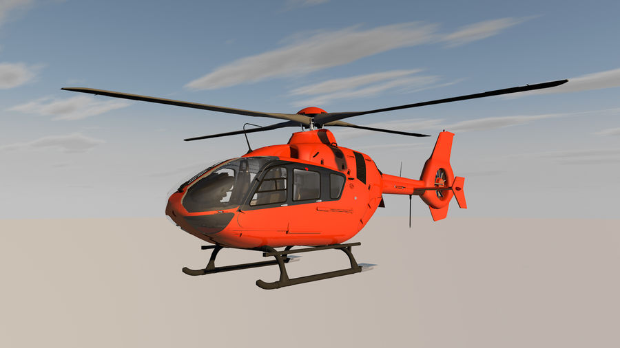 Helicopter With Rotating Blades royalty-free 3d model - Preview no. 3
