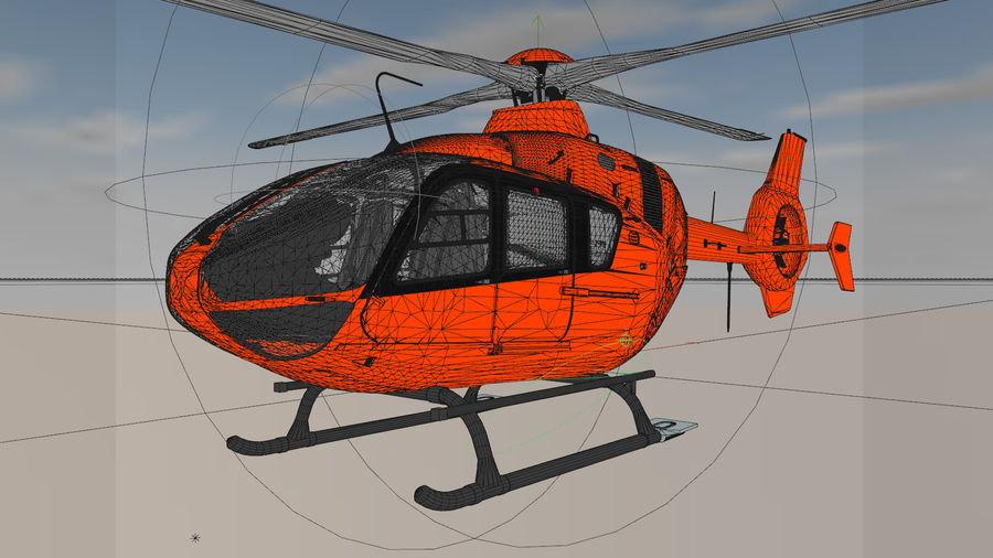 Helicopter With Rotating Blades royalty-free 3d model - Preview no. 10
