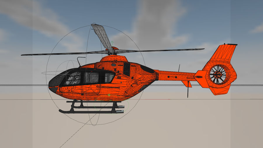 Helicopter With Rotating Blades royalty-free 3d model - Preview no. 12