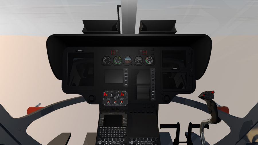 Helicopter With Rotating Blades royalty-free 3d model - Preview no. 20