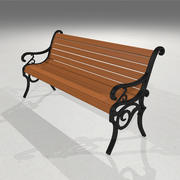 Park Bench: Wood and Cast Iron 3d model