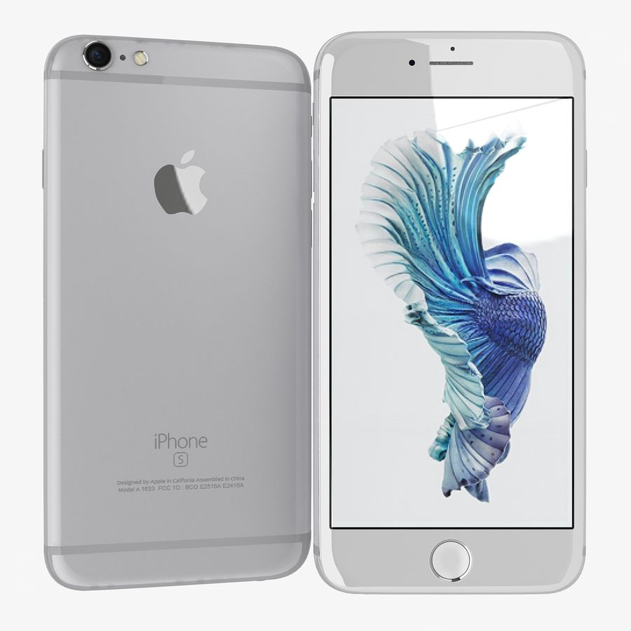 Apple iPhone 6s zilver royalty-free 3d model - Preview no. 1