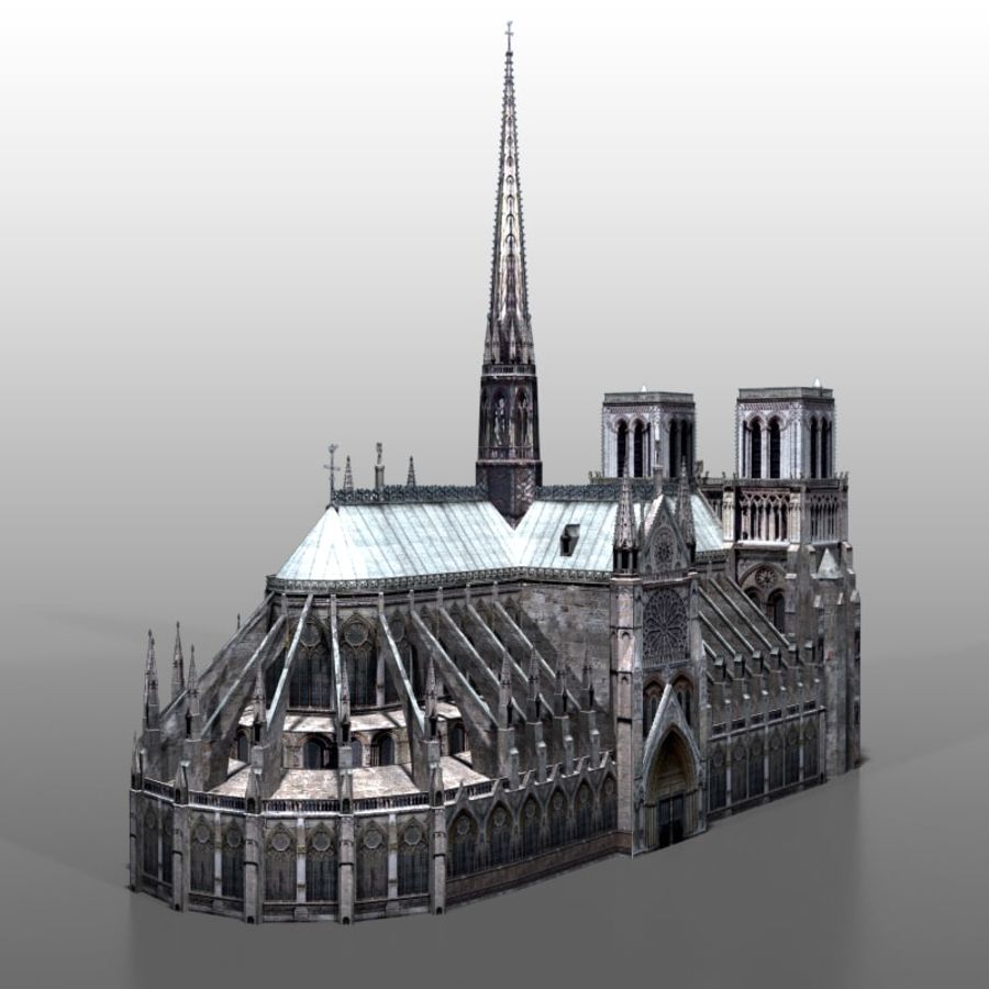 Notre Dame de Paris royalty-free 3d model - Preview no. 3