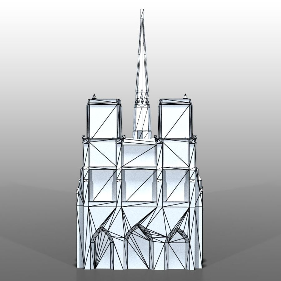 Notre Dame de Paris royalty-free 3d model - Preview no. 8