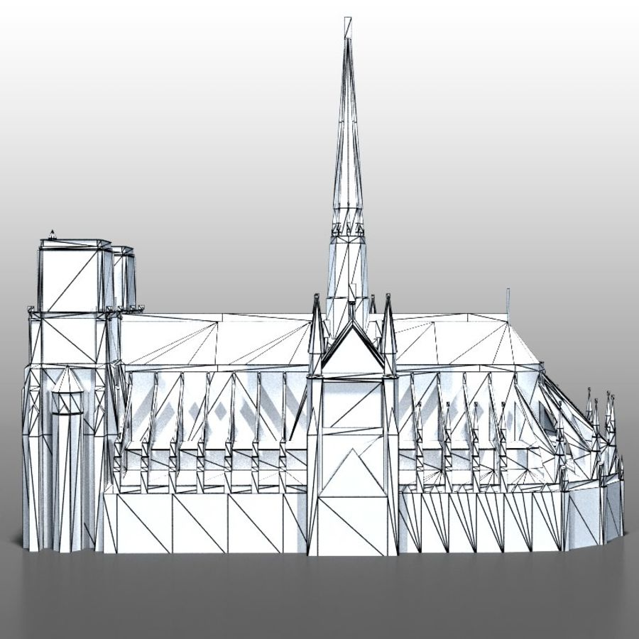 Notre Dame de Paris royalty-free 3d model - Preview no. 10