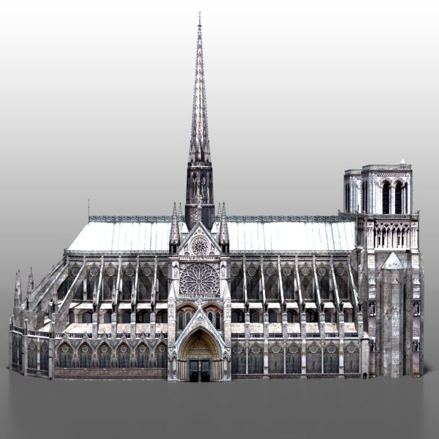 Notre Dame de Paris royalty-free 3d model - Preview no. 2