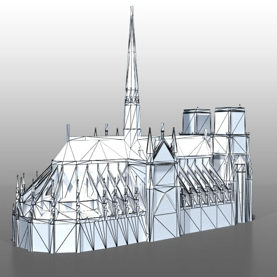 Notre Dame de Paris royalty-free 3d model - Preview no. 13