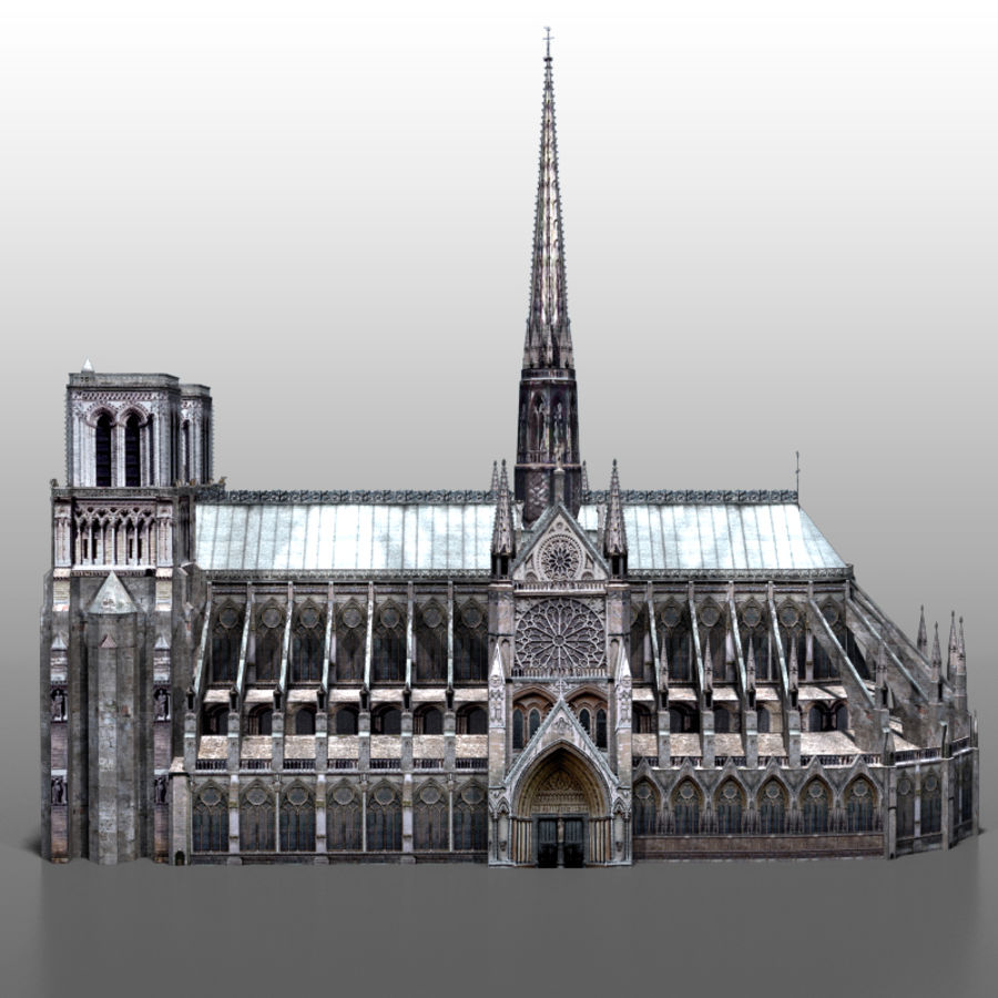 Notre Dame de Paris royalty-free 3d model - Preview no. 5