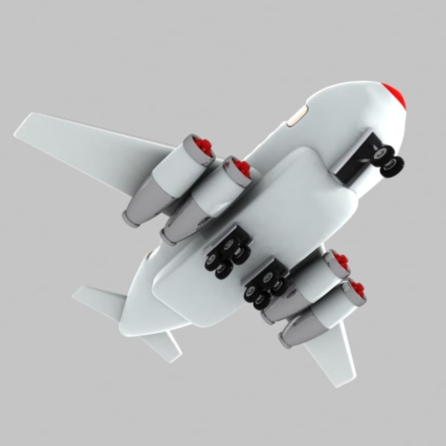 Cartoon Wide-Body Aircraft royalty-free 3d model - Preview no. 9