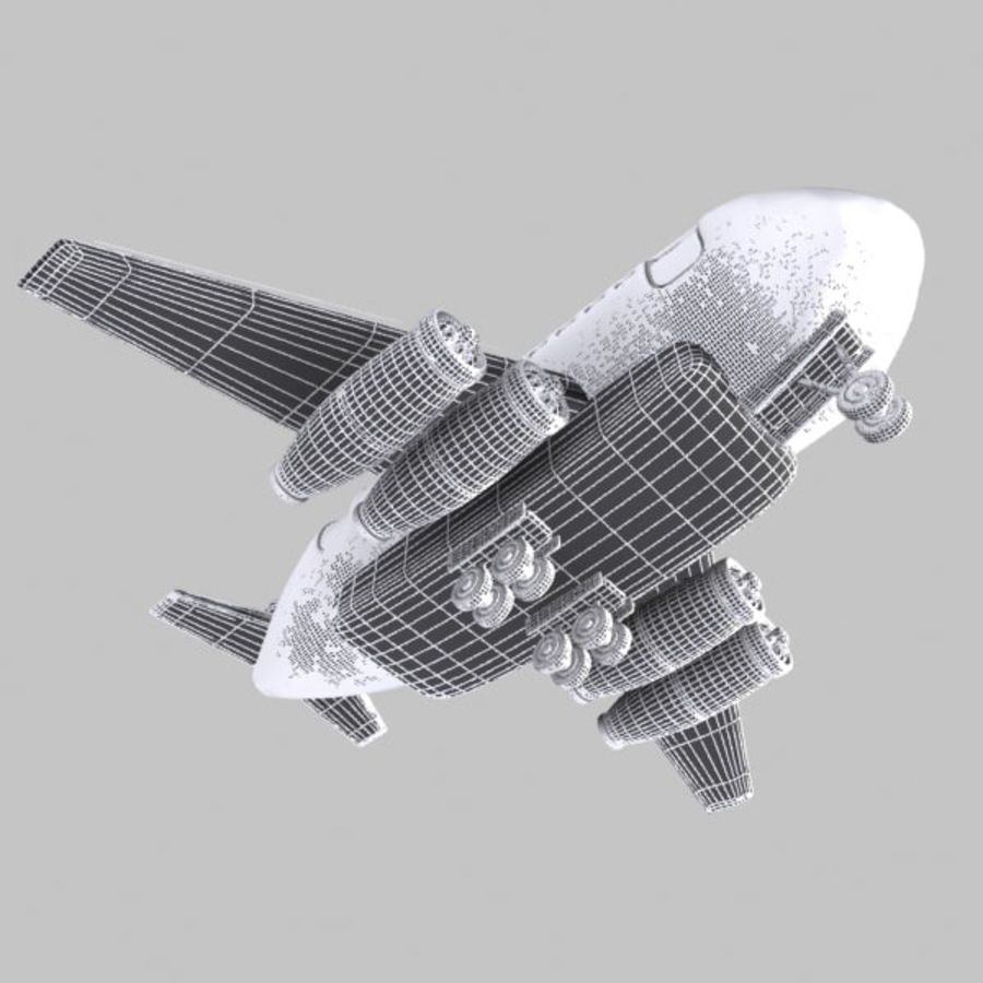 Cartoon Wide-Body Aircraft royalty-free 3d model - Preview no. 11
