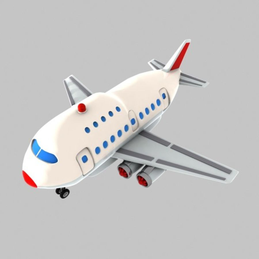 Cartoon Wide-Body Aircraft royalty-free 3d model - Preview no. 3
