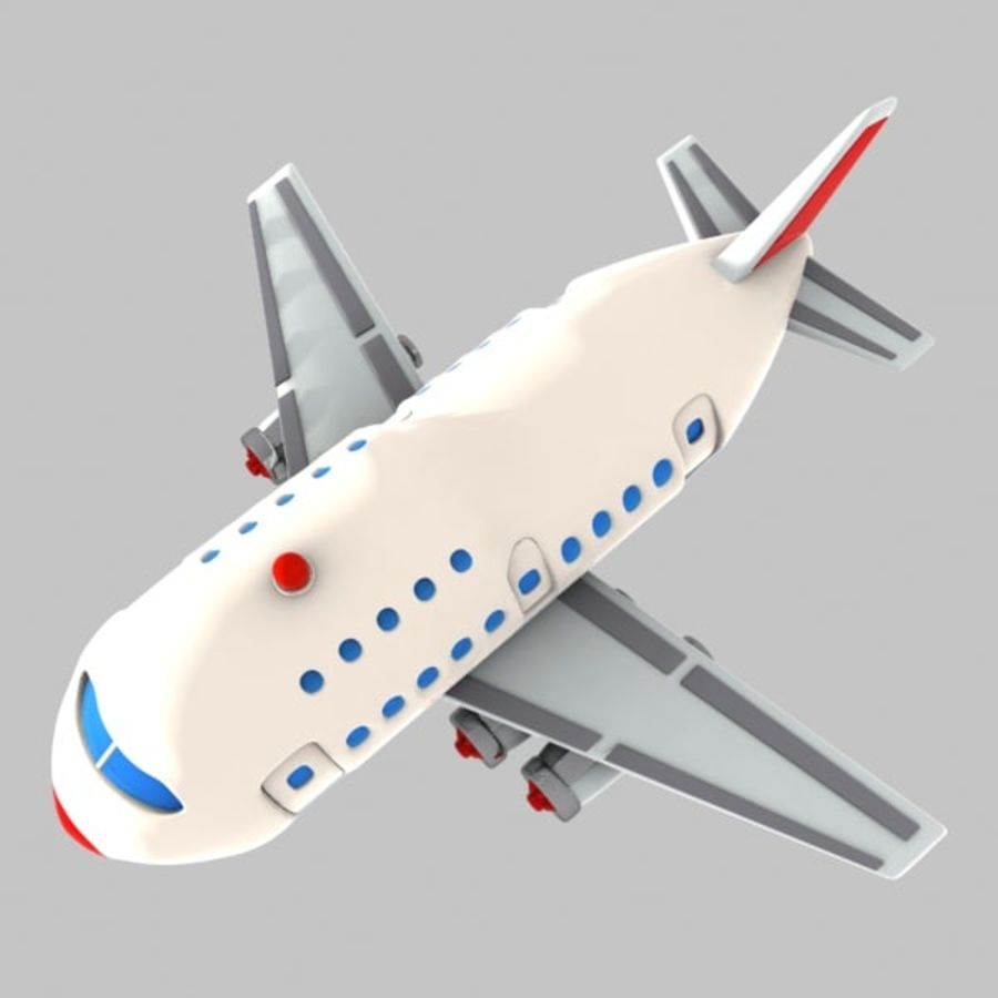 Cartoon Wide-Body Aircraft royalty-free 3d model - Preview no. 6