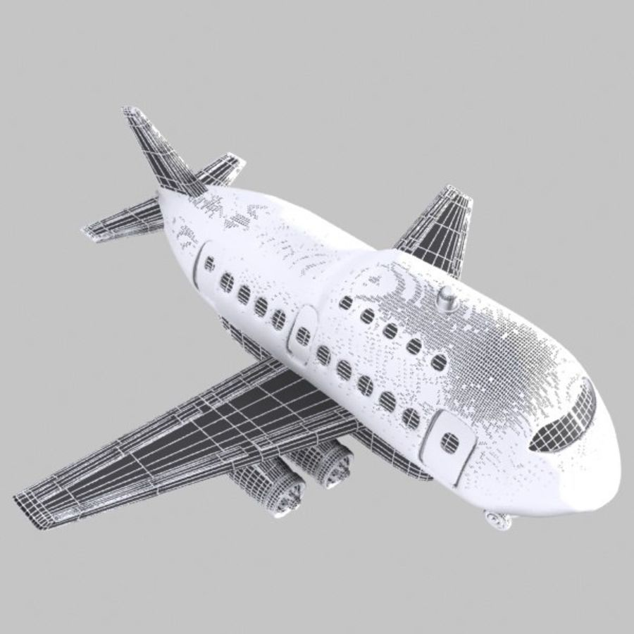 Cartoon Wide-Body Aircraft royalty-free 3d model - Preview no. 10