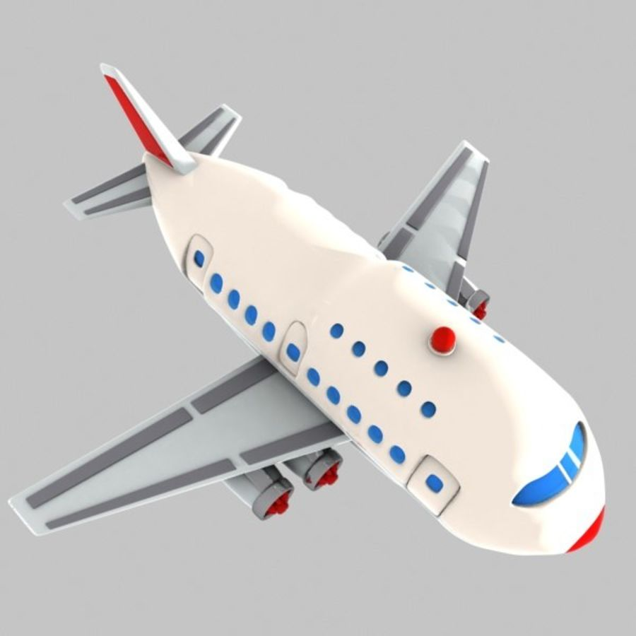 Cartoon Wide-Body Aircraft royalty-free 3d model - Preview no. 7
