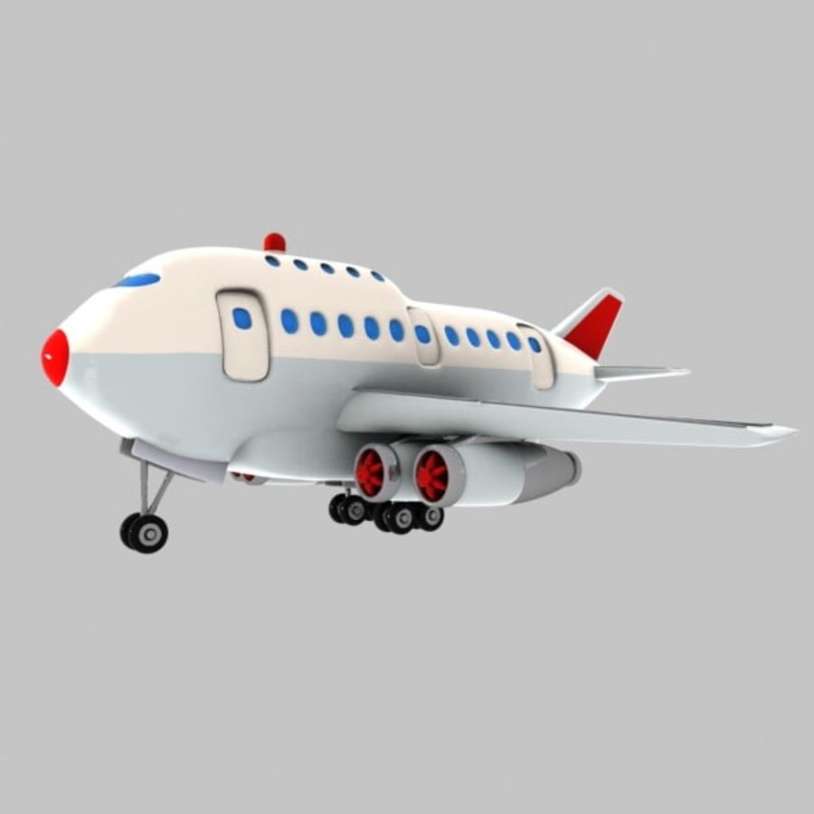 Cartoon Wide-Body Aircraft royalty-free 3d model - Preview no. 5