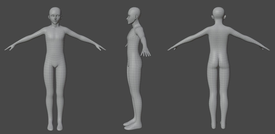 Stylized Humanoid Base Mesh - Male -Rigged- royalty-free 3d model - Preview no. 2