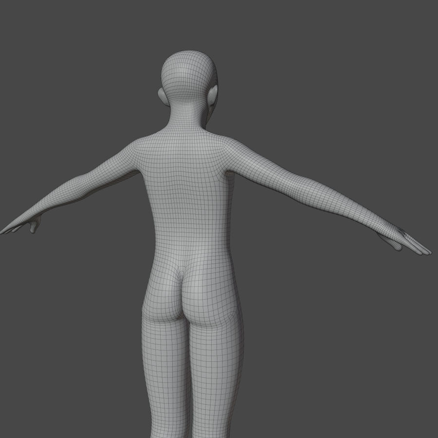 Stylized Humanoid Base Mesh - Male -Rigged- royalty-free 3d model - Preview no. 8