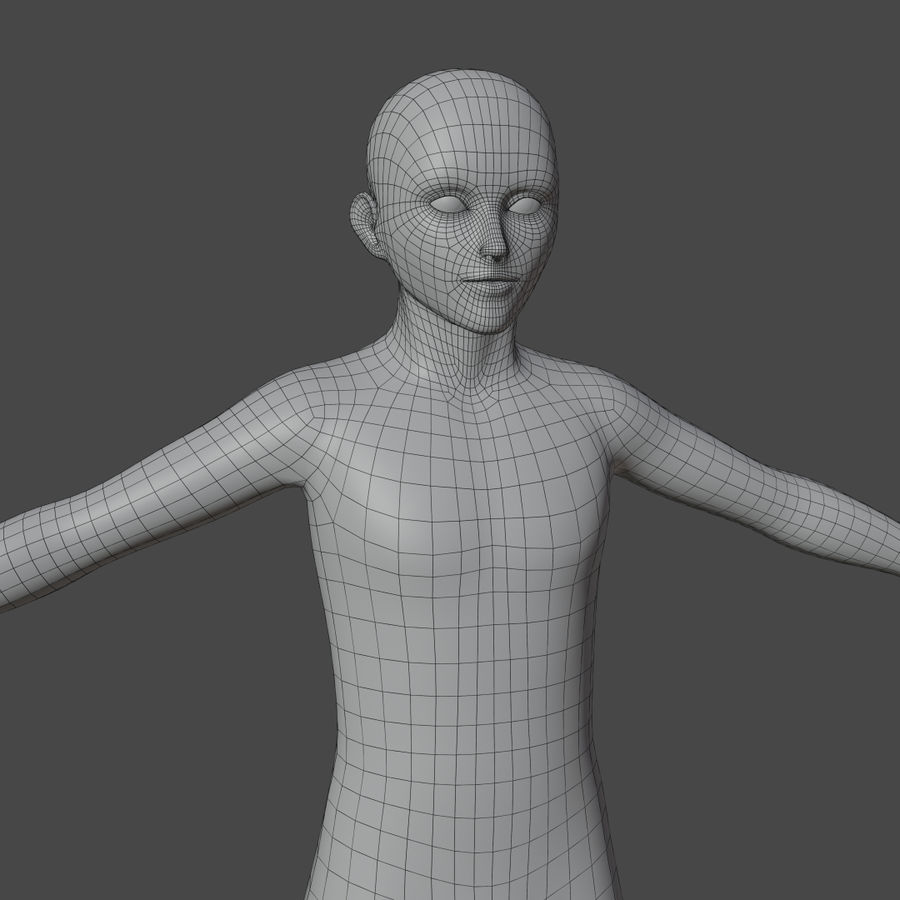 Stylized Humanoid Base Mesh - Male -Rigged- royalty-free 3d model - Preview no. 4