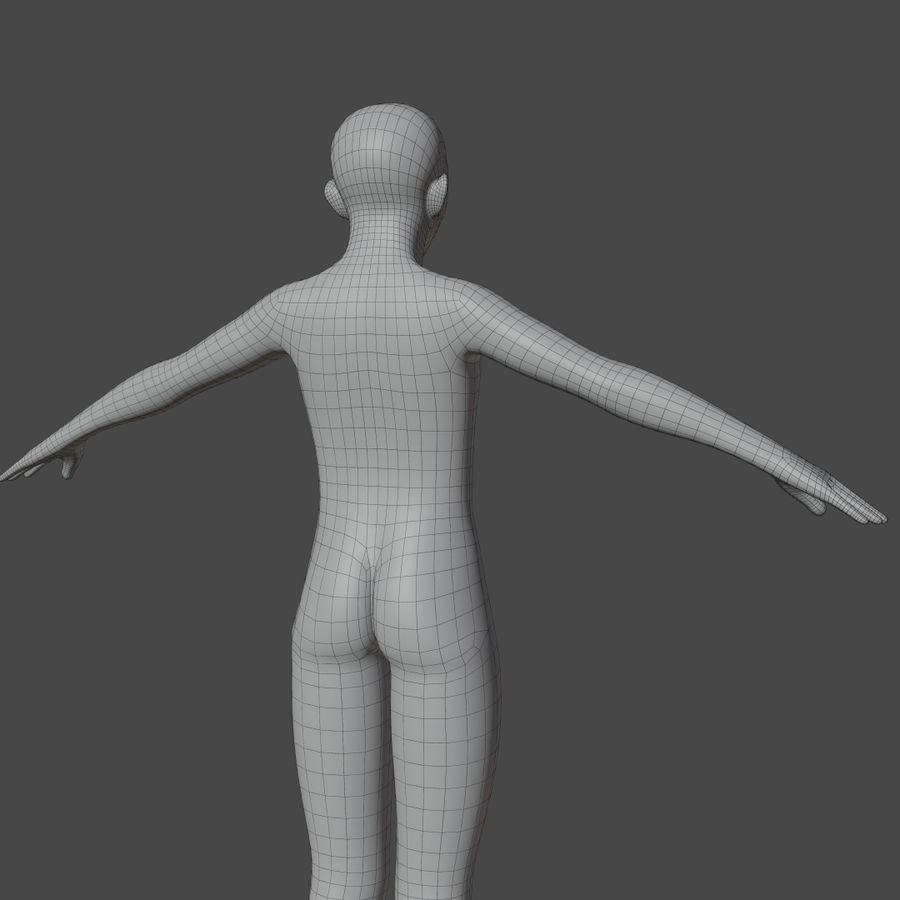 Stylized Humanoid Base Mesh - Male -Rigged- royalty-free 3d model - Preview no. 7