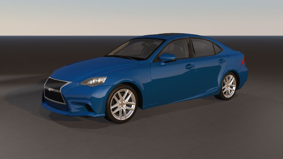 Sports Car with Headlights and Opening Doors royalty-free 3d model - Preview no. 6