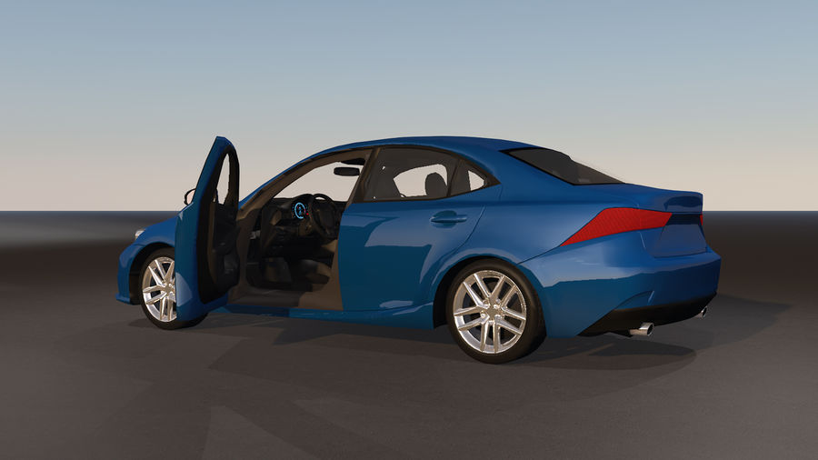 Sports Car with Headlights and Opening Doors royalty-free 3d model - Preview no. 16
