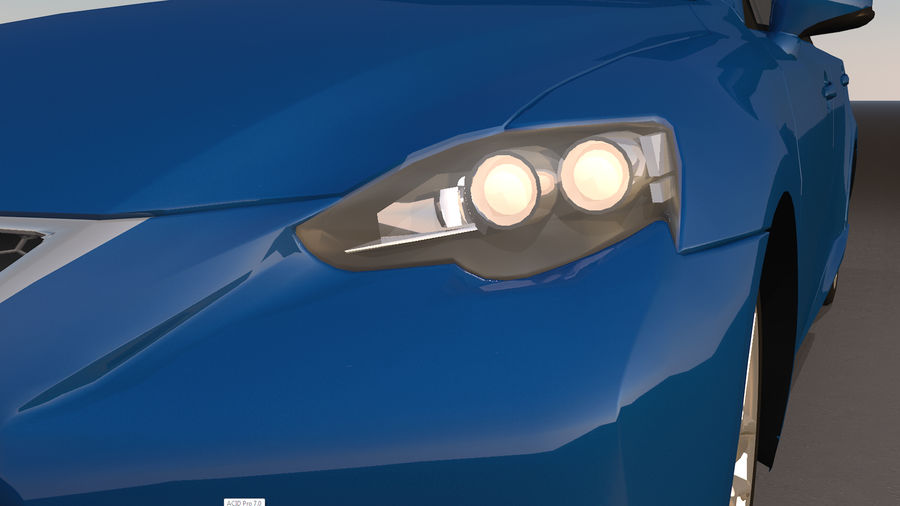 Sports Car with Headlights and Opening Doors royalty-free 3d model - Preview no. 27