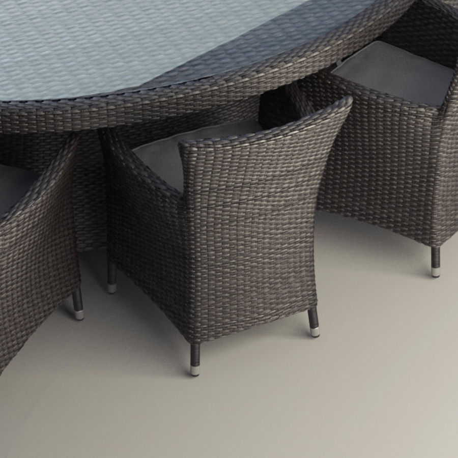 Rattan furniture set royalty-free 3d model - Preview no. 3