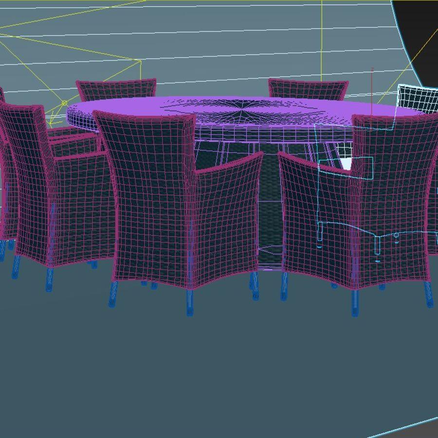 Rattan furniture set royalty-free 3d model - Preview no. 8