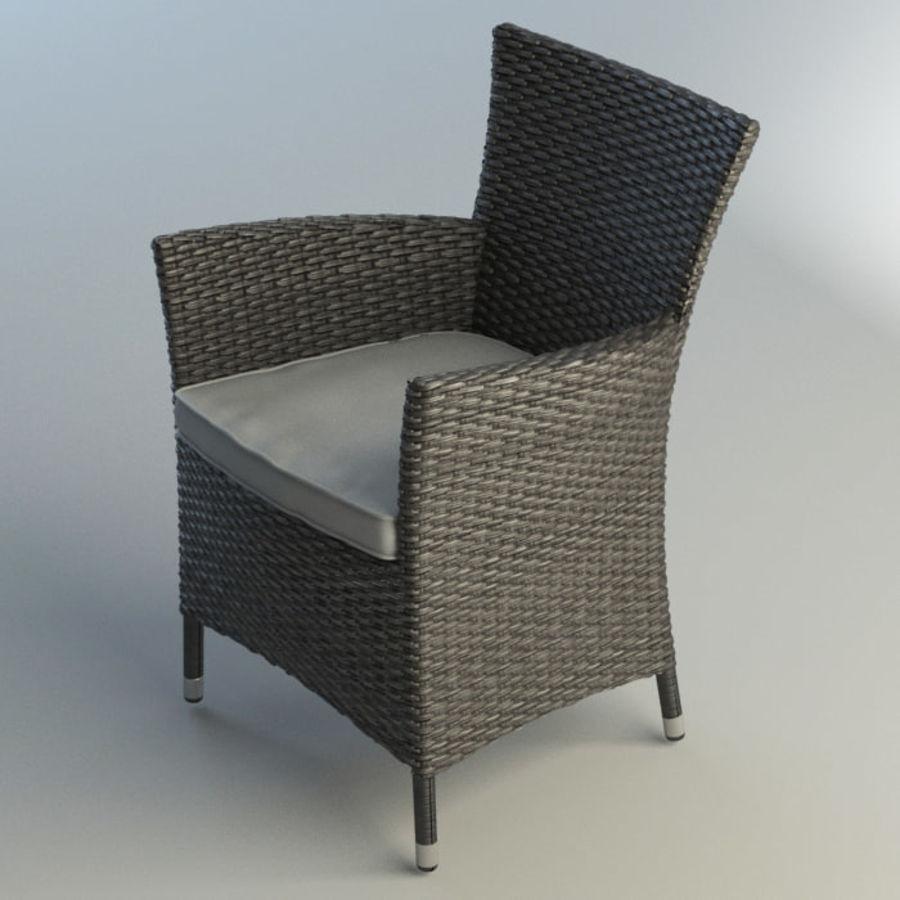Rattan furniture set royalty-free 3d model - Preview no. 4