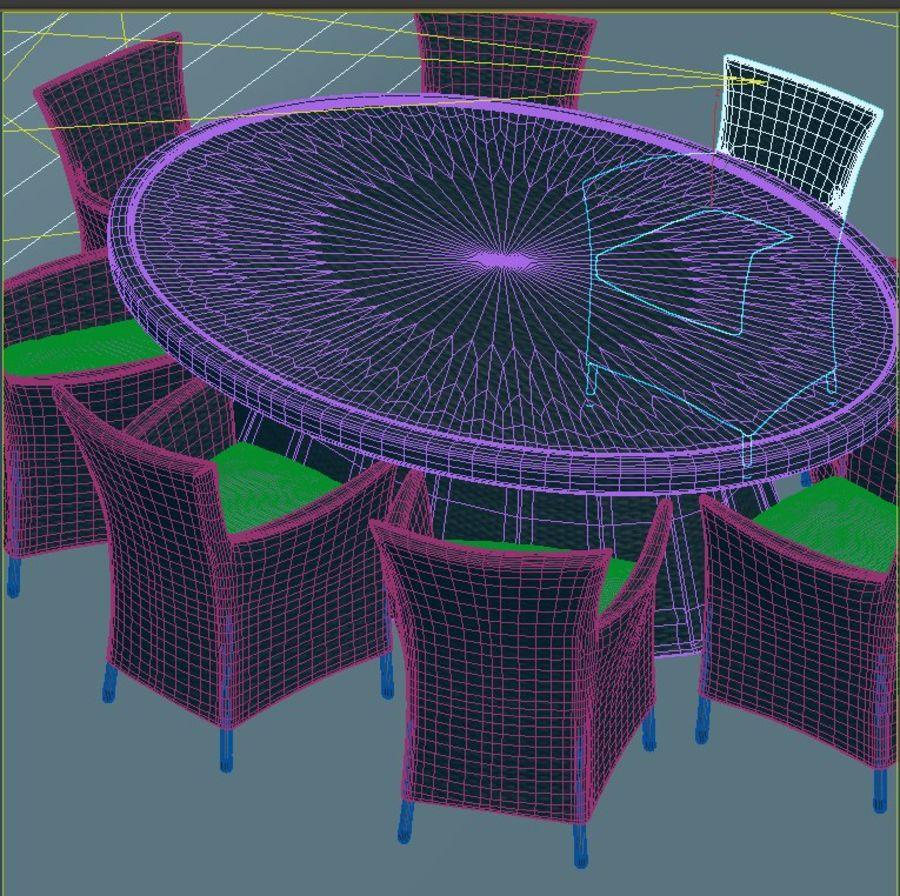 Rattan furniture set royalty-free 3d model - Preview no. 7
