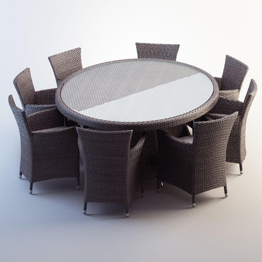 Rattan furniture set royalty-free 3d model - Preview no. 1